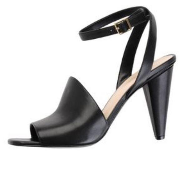 df564af30b7 100% Leather Black Ankle Strap Heeled Sandal